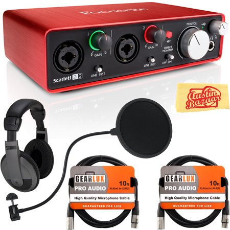 focusrite scarlett 2i2 usb audio interface bundle with headphones pop filter 2 xlr cables and. Black Bedroom Furniture Sets. Home Design Ideas