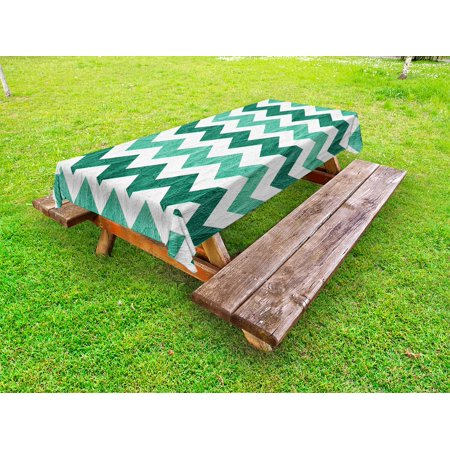 Modern Outdoor Tablecloth, Pastel Chevrons Peru Zigzag Lines in Green Toned Geometric Contemporary, Decorative Washable Fabric Picnic Tablecloth, 58 X 104 Inches, Dark Green Mint Green, by Ambesonne](Mint Green Tablecloth)
