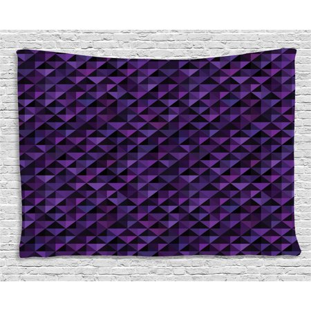 Geometric Tapestry, Twentieth Century Style Expressionist Art Vibrant Colored Squares and Triangles, Wall Hanging for Bedroom Living Room Dorm Decor, 60W X 40L Inches, Purple Black, by (15th Century Tapestry)