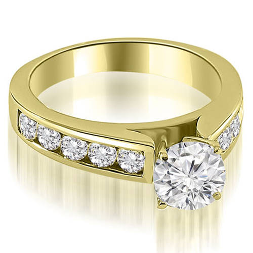 1.75 CT.TW Cathedral Channel Round Cut Diamond Engagement Ring in 14K White, Yellow Or Rose Gold