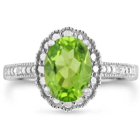 - 2ct Oval Peridot And Diamond Halo Ring Crafted In Solid Sterling Silver Size 5