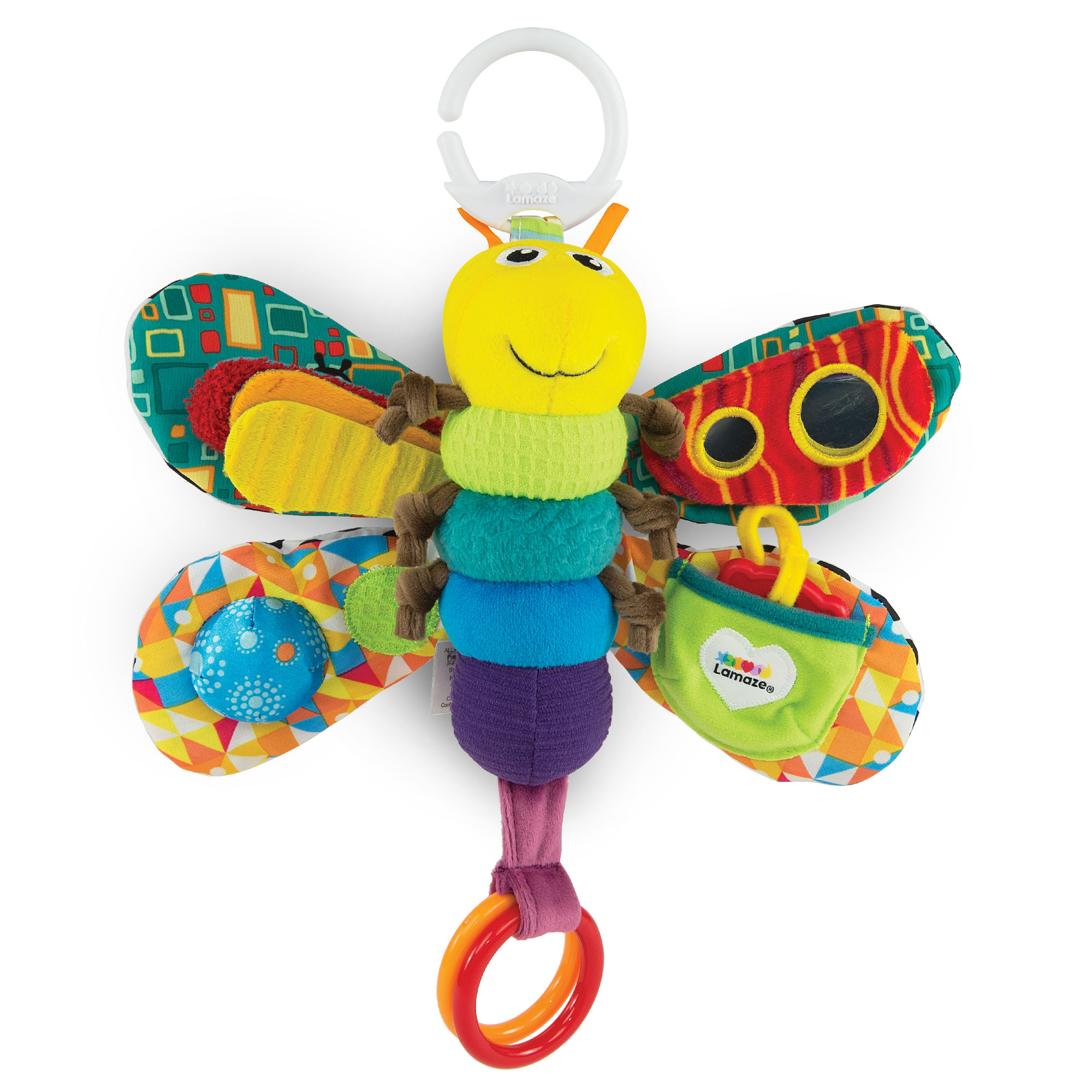 LAMAZE - Freddie The Firefly Infant Toy, Keeps Baby Engaged with Bright Colors, Textures, and a Self-Discovery Mirror, Clips to Carriers and Strollers