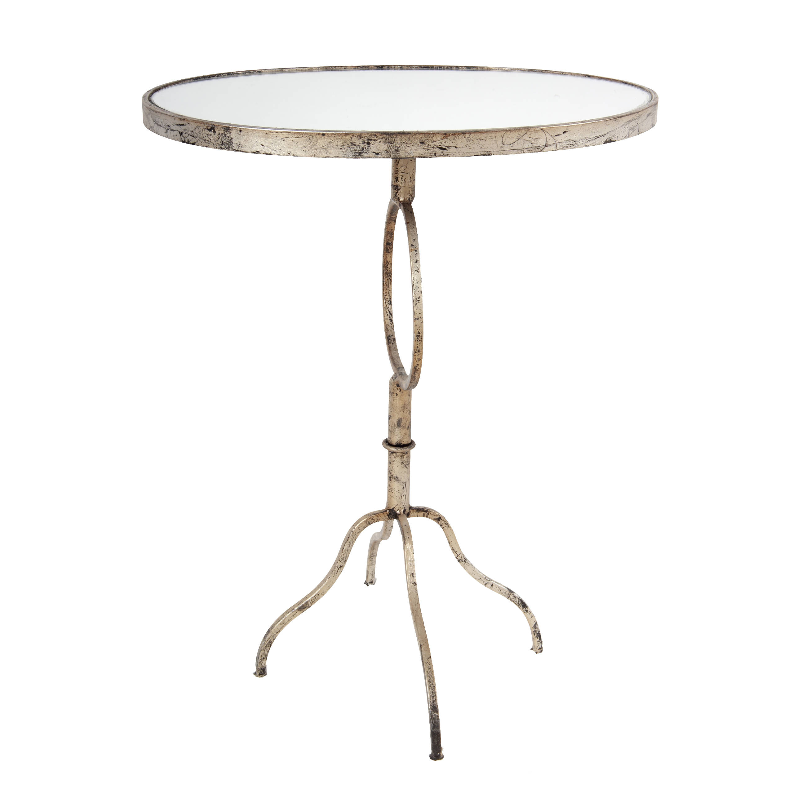 - A&B Home Oval Accent Table With Glass Top, Silver Distressed