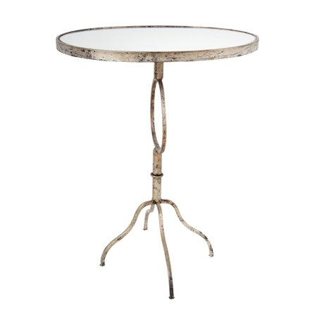 Cherry Finish Glass Top Table - A&B Home Oval Accent Table With Glass Top, Silver Distressed Finish