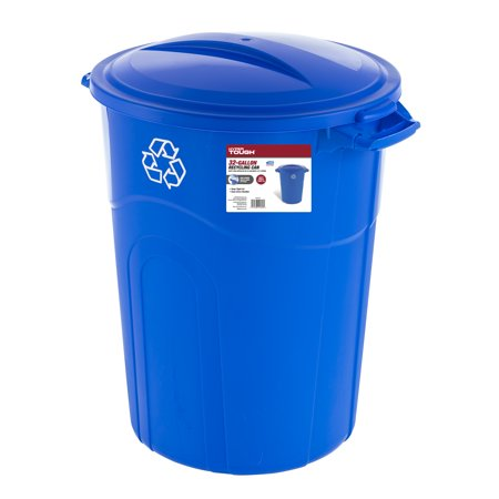 Hyper Tough 32 Gallon Injection Molded Recycling Trash Can - Blue
