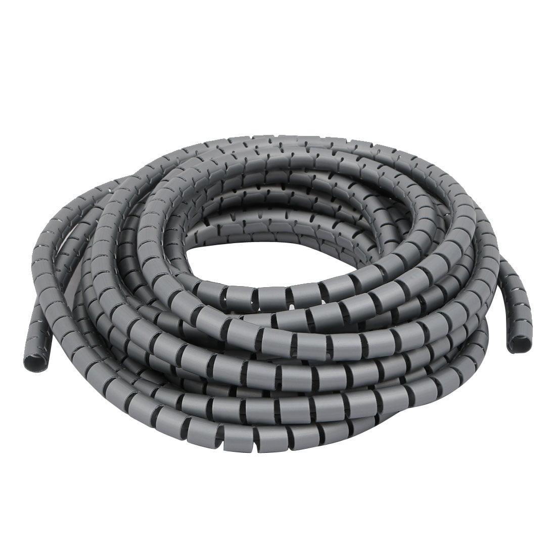 Unique Bargains 10mm Dia Flexible Spiral Tube Cable Wire Wrap Gray ...