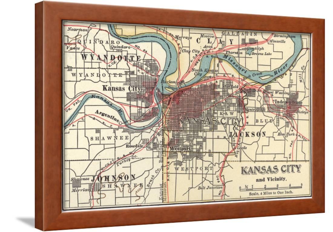 Alton Kansas Map.Map Of Kansas City C 1900 Maps Framed Print Wall Art By