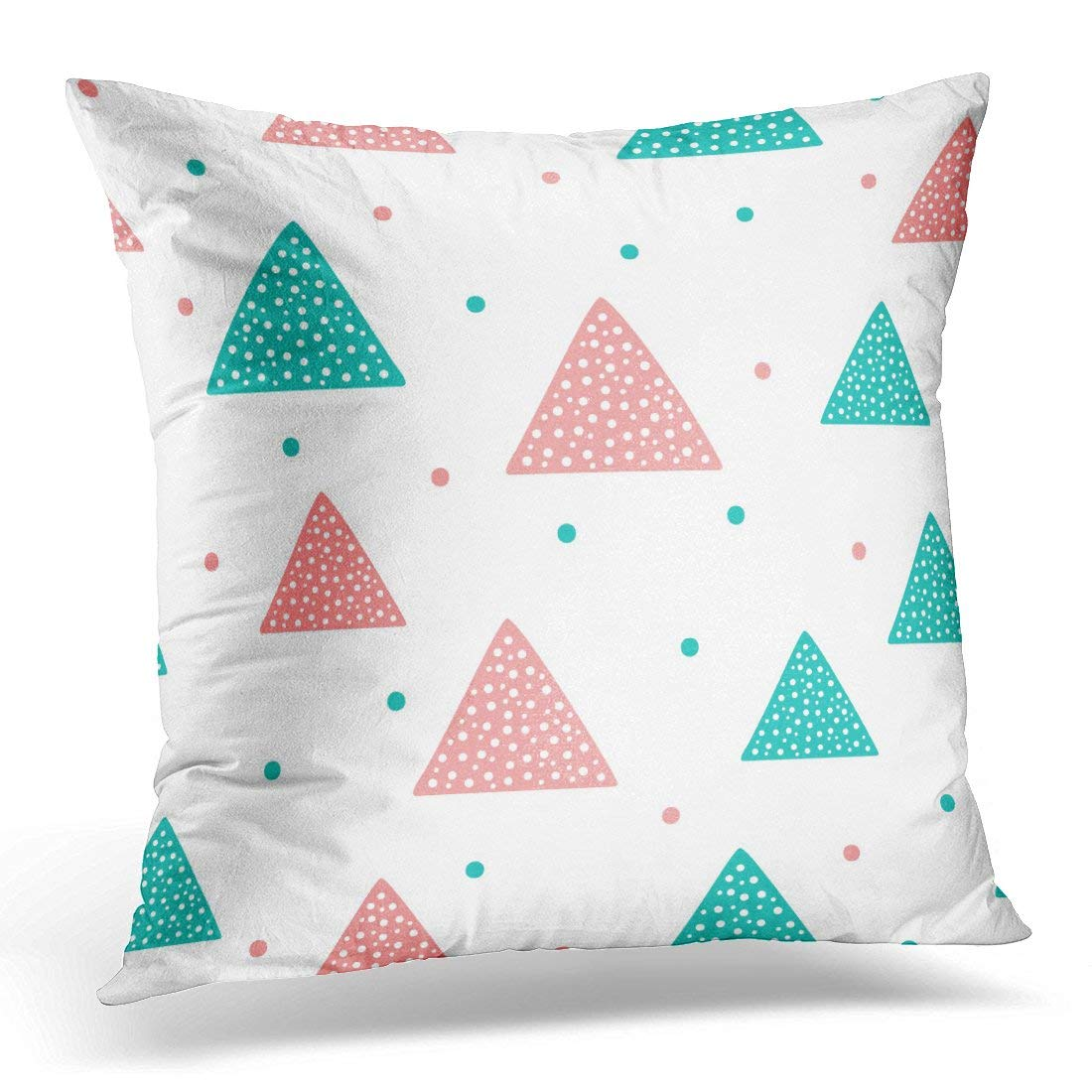 ARHOME Blue Abstract Cute Geometric Triangles and Round Spots for Children Pink Baby Pillow Case Pillow Cover 20x20 inch