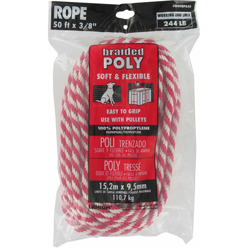 "Lehigh Group RWSBP850W Red and White Polypropylene Solid Braid Derby Rope, 3/8"" x 50'"