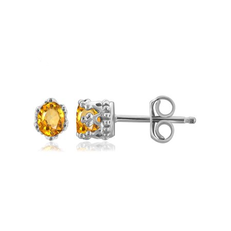 0.36 Carat T.G.W. Citrine Gemstone Stud Earrings