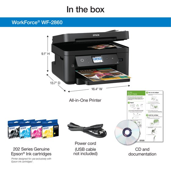 Epson WorkForce WF-2860 All-in-One Wireless Color Printer with