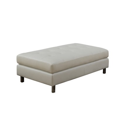 Logan Collection Ottoman by Nathaniel Home- Bonded Leather, White Color ()