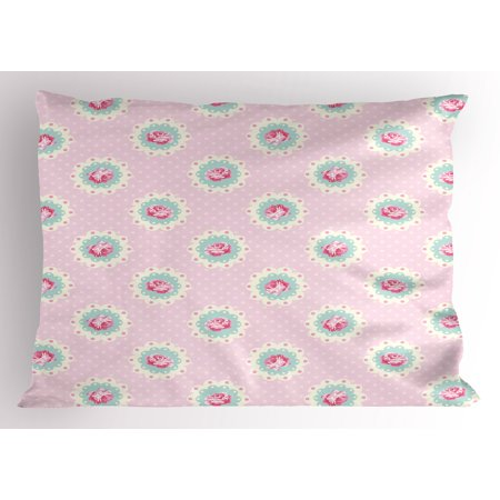 Shabby Chic Pillow Sham Retro Style Polka Dotted Backdrop and Floral Motifs Roses Cottage, Decorative Standard Size Printed Pillowcase, 26 X 20 Inches, Baby Pink White Seafoam, by Ambesonne