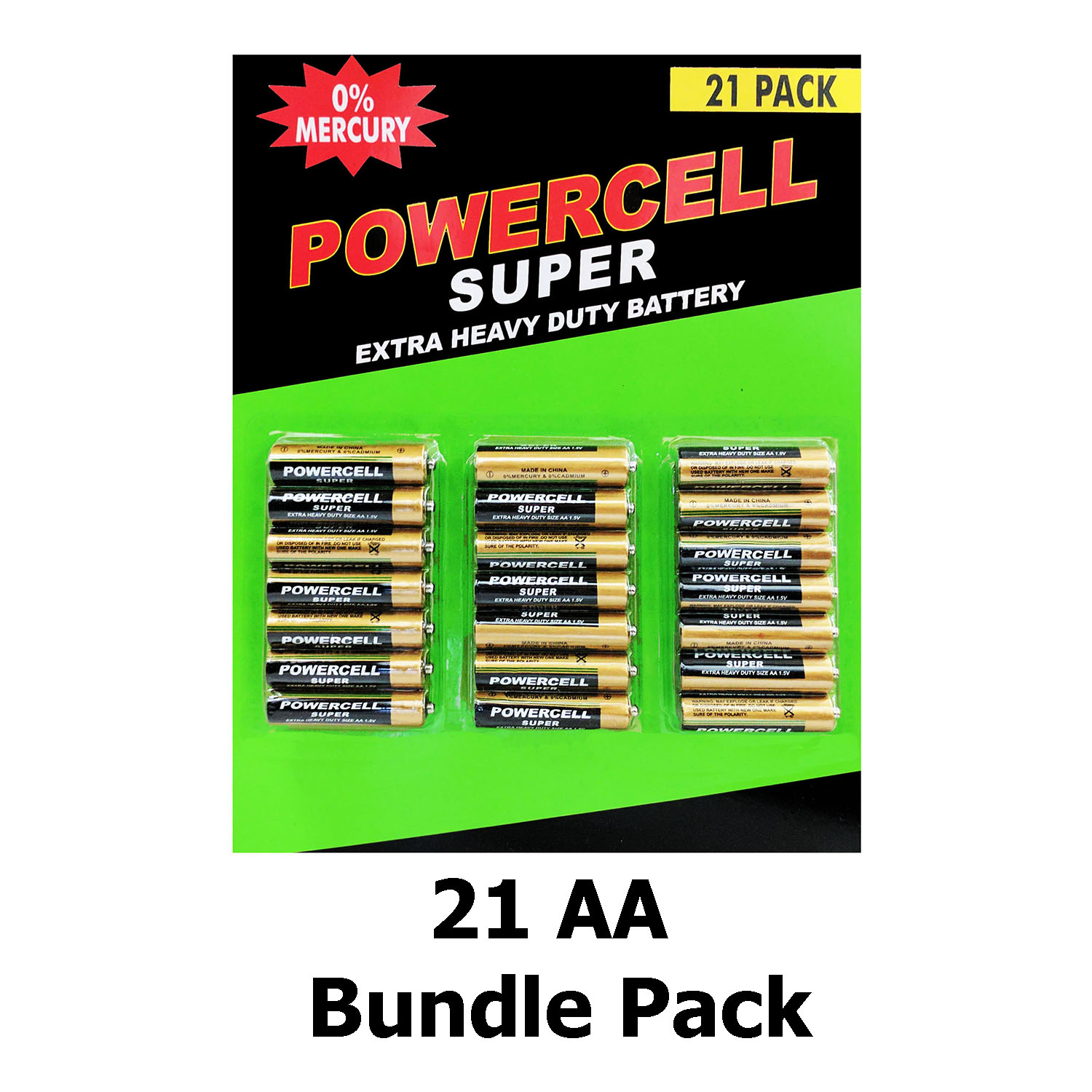 Powercell Super Extra Heavy Duty Size AA 1.5V Batteries