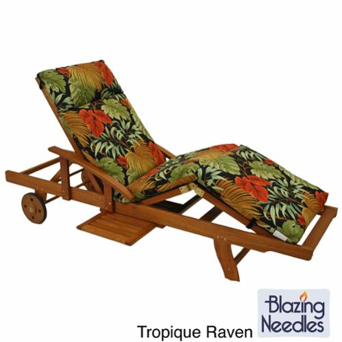 Blazing Needles Patterned All-weather 3-Section Outdoor Chaise Lounge Cushion Monserrat Sangria (REO-33)