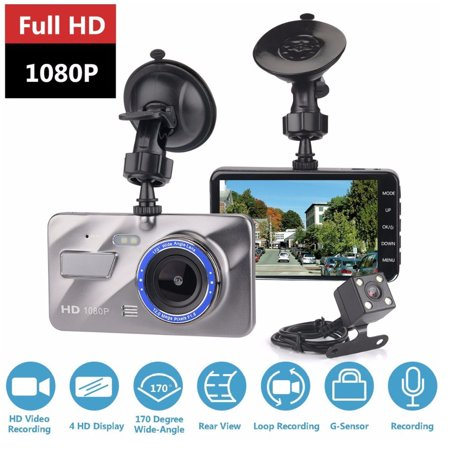"4"" HD 1080P Dual Lens Car DVR Camera Video Dash Cam Recorder Front and Rear Car Dashboard Support G-sensor 170 Degree - image 12 of 12"