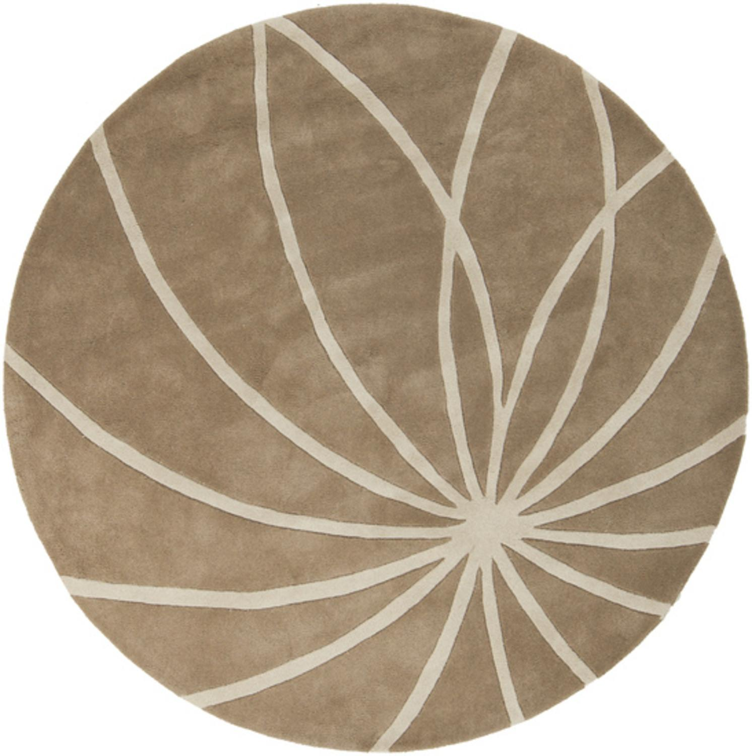 6' Plasma Elektra White and Safari Tan Hand Tufted Wool Round Area Throw Rug