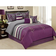 Unique Home 7 Piece Dala Tree Branch Print & Embroidery Clearence Purple/Grey Comforter Set Queen King Cal.King (Queen, Purple)