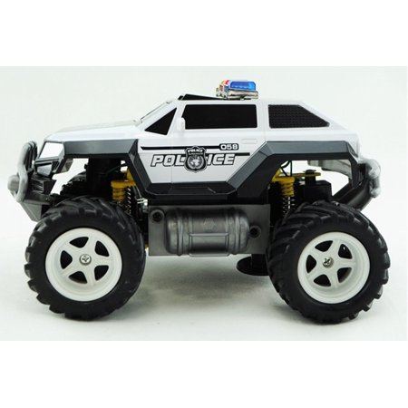 Prextex Remote Control Monster Police Truck Radio Control Police Car toys for boys Rc Car with Lights Best Christmas gift for 8-12 year old boys - Present For 5 Year Old Boy