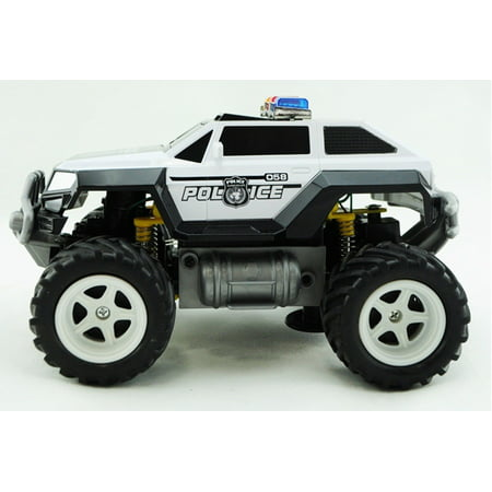 Prextex Remote Control Monster Police Truck Radio Control Police Car toys for boys Rc Car with Lights Best Christmas gift for 8-12 year old
