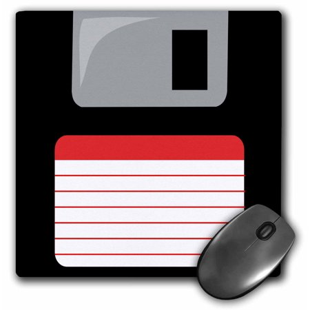 3dRose Retro 90s computer black floppy disk graphic design with red label - 1990s - ninties computer tech, Mouse Pad, 8 by 8 inches