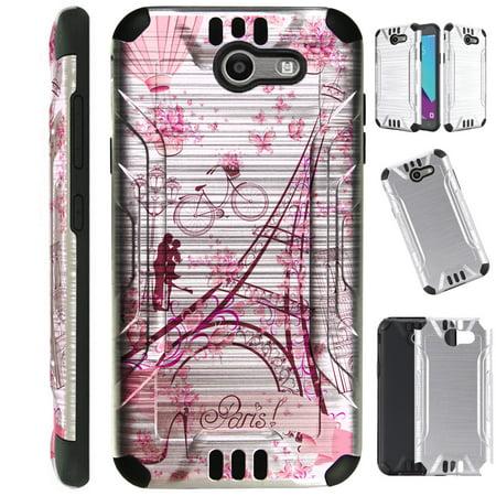 Silver Guard Phone Case Cover For Samsung Galaxy J3 (2017)   J3 Emerge   Sol 2   J3 Luna Pro (Eiffel Tower Butterfly)