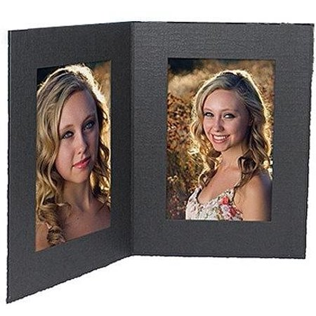 Brand New Black cardboard double photo folder frame w/plain border sold in 25s - 5x7, High-quality](Cardboard Photo Frames)