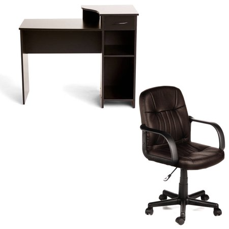 Desk and Chair Set: Mainstays Student Desk and Comfort Products Leather Chair