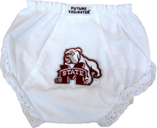 Mississippi State Bulldog Eyelet Baby Diaper Cover by Future Tailgater