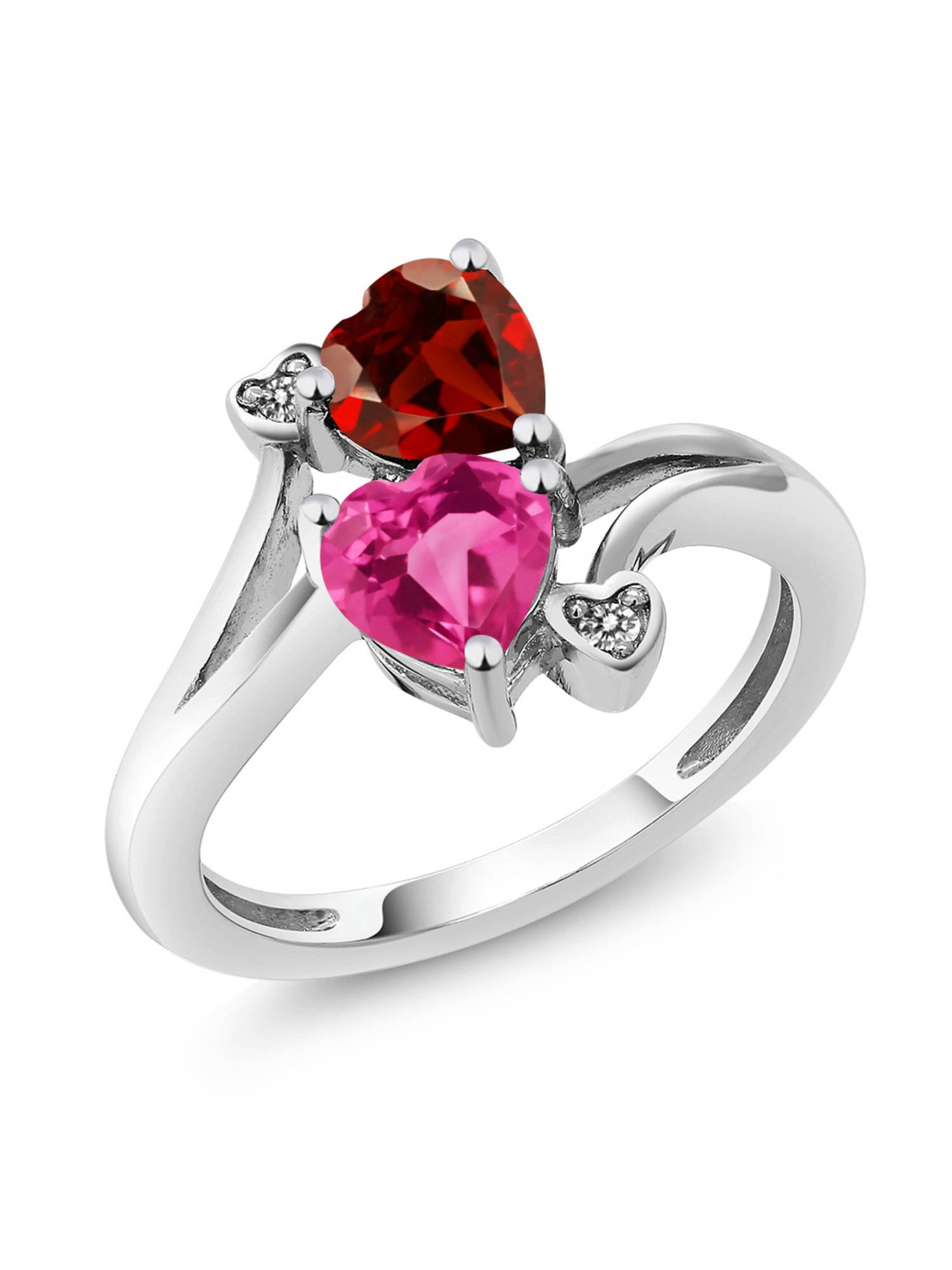 1.73 Ct Heart Shape Pink Created Sapphire Red Garnet 925 Sterling Silver Ring by