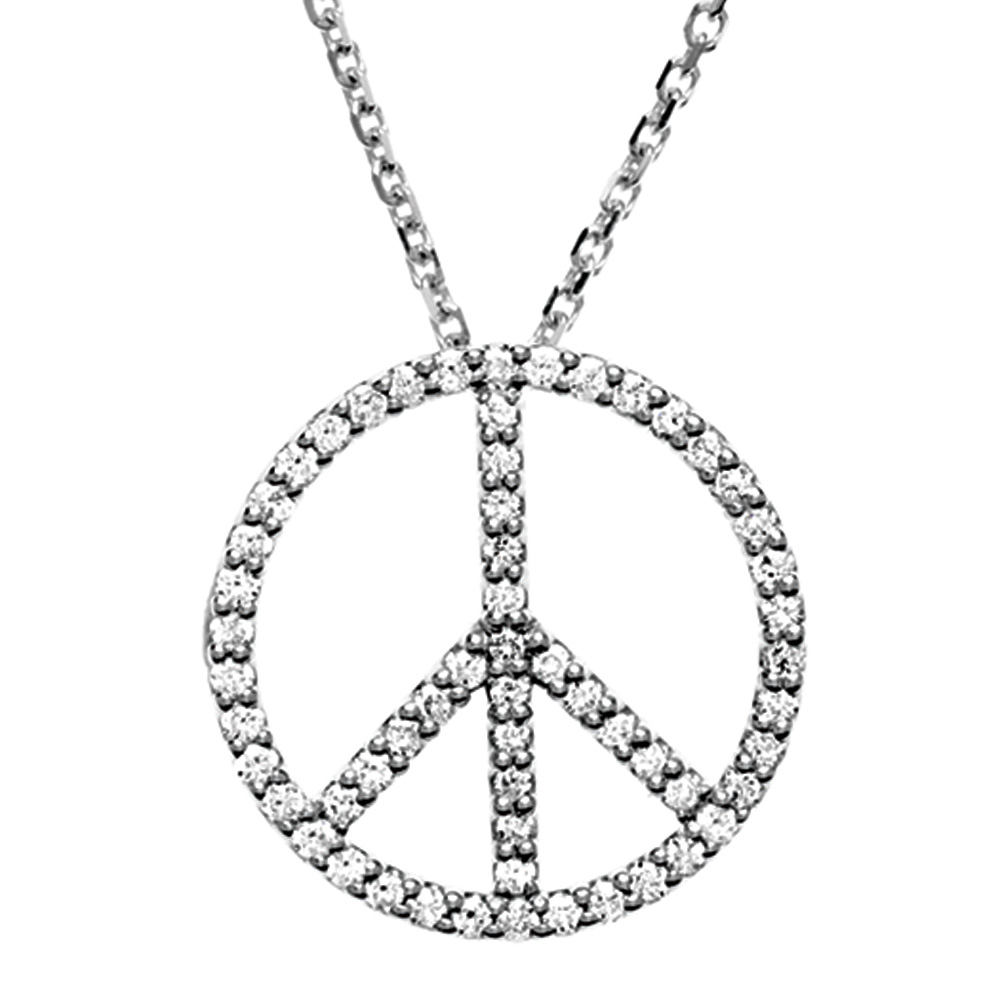 1 3 Carat Diamond Peace Sign Necklace in Platinum by Black Bow Jewelry Company