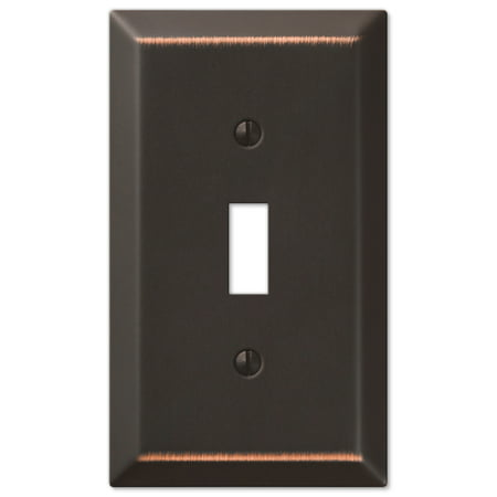 Amerelle 163TDB Traditional Steel Wallplate with 1 Toggle, Aged - Bronze Toggle