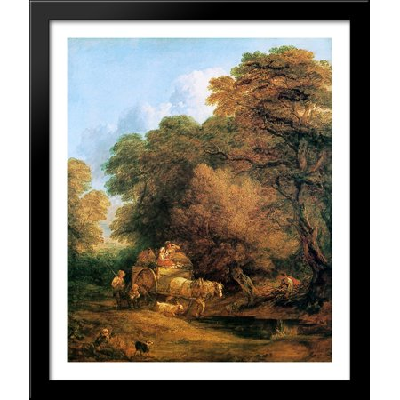 The market cart 28x34 Large Black Wood Framed Print Art by Thomas Gainsborough - Gainsborough Halloween Market
