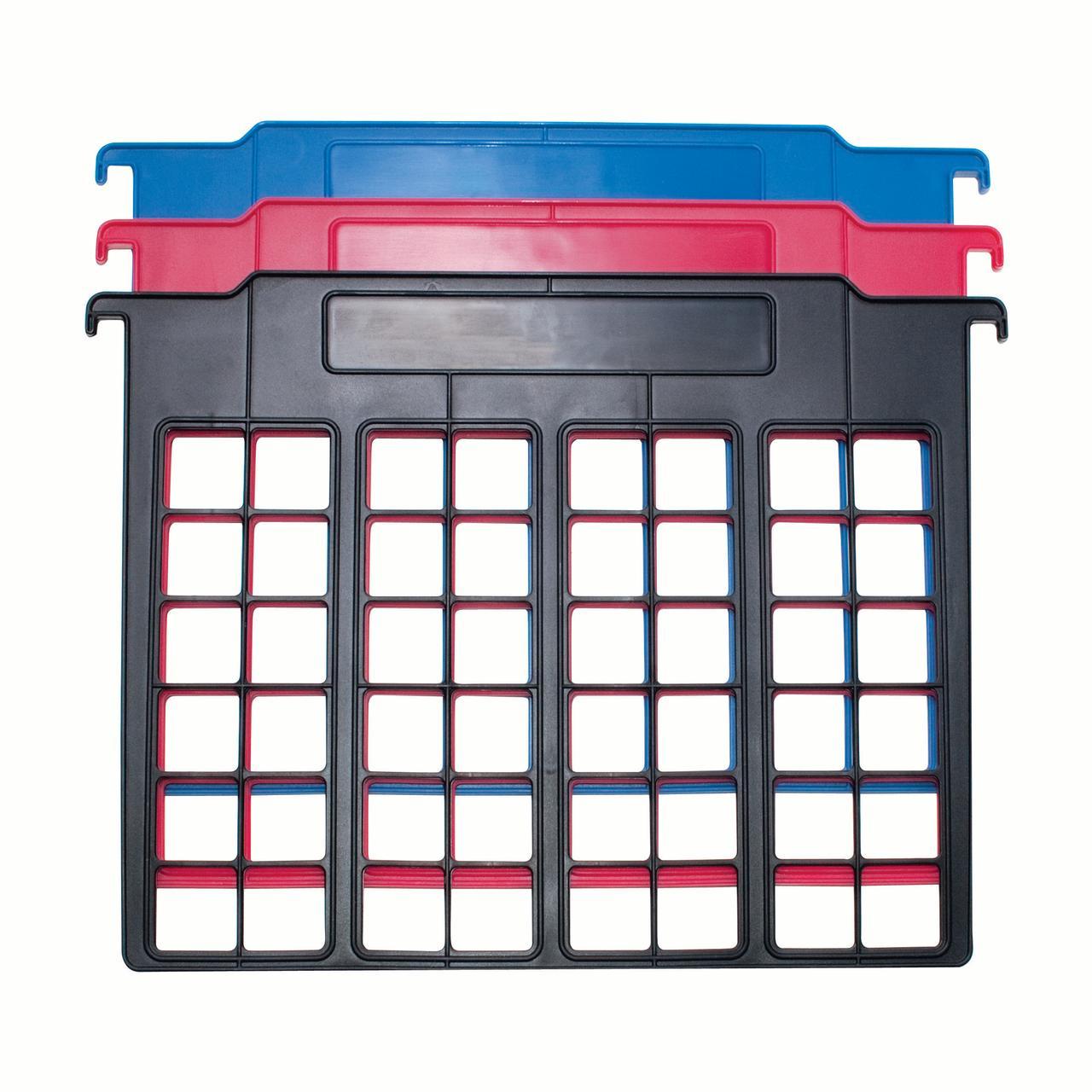 File & Folder Dividers, 3 Count, Red/Blue/Black