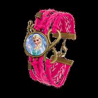 Frozen Snow Princes Elsa Rose Pink Braided Bracelet F.03