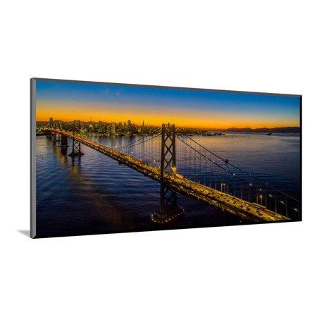 Bay Bridge at dusk, San Francisco, California, USA Wood Mounted Print Wall Art