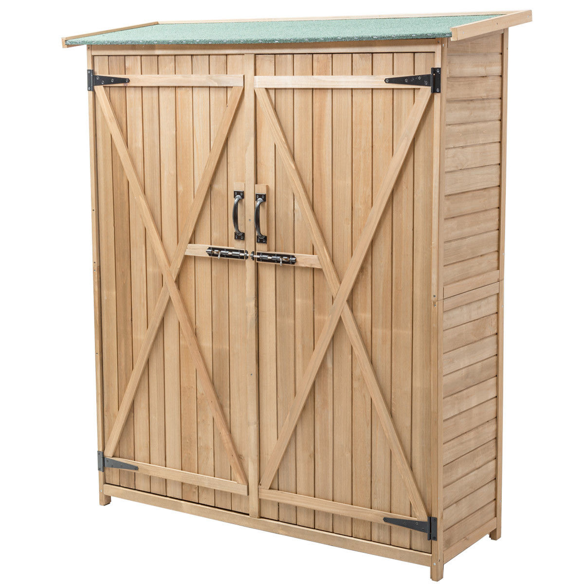 """GHP Home 56""""L×20""""W×64""""H Durable Waterproof Fir Wood Garden Storage Shed Cabinet"""