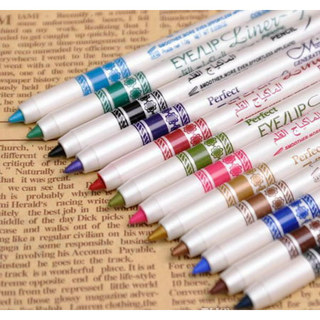 M.N 12 Color PVC Design Glitter Eyeliner Lipliner Eyebrow Pen Pencil Makeup Set (Eyeliner Makeup For Halloween)