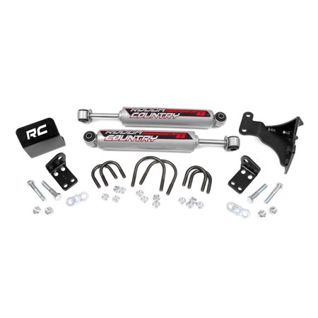 (Rough Country - 87349 - Dual Steering Stabilizer for 2-6-inch Lifts w/ Performance 2.2 Shocks for Jeep: 07-17 Wrangler JK 4WD/2WD, 07-17 Wrangler Unlimited JK 4WD/2WD)