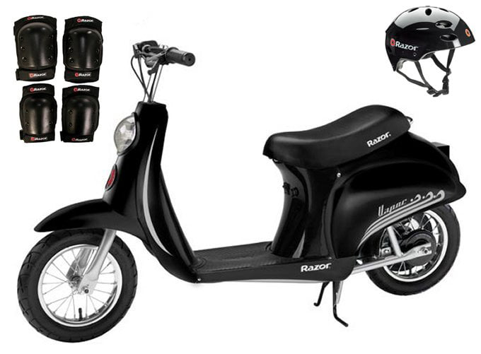Razor Pocket Mod Vapor Electric Scooter (Black) w  Helmet, Elbow and Knee Pads by Razor