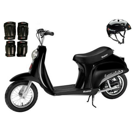 Razor Pocket Mod Vapor Electric Scooter (Black) w/ Helmet, Elbow and Knee