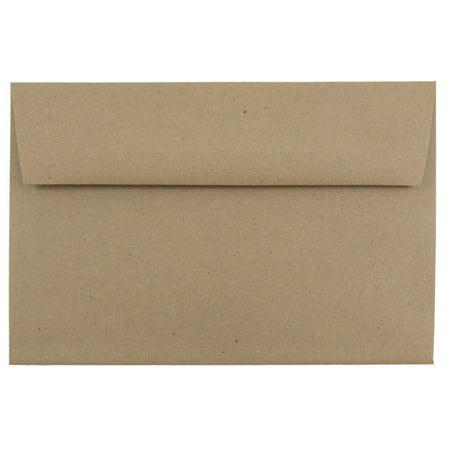 JAM Paper A9 Invitation Envelopes, 5 3/4 x 8 3/4, Brown Kraft Paper Bag Recycled, 25/pack