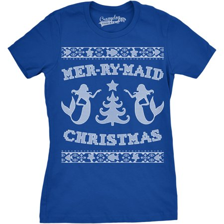Womens Mer-Ry-Maid Christmas Funny Mermaid Holiday Ugly Sweater T shirt](Funny Tacky Christmas Sweaters)