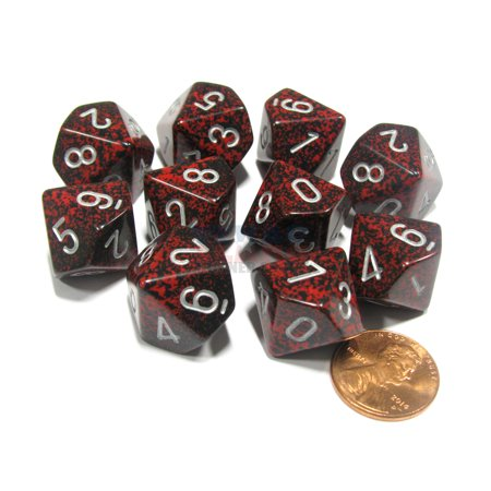 Chessex Set of 10 D10 Dice - Speckled Silver Volcano #25144