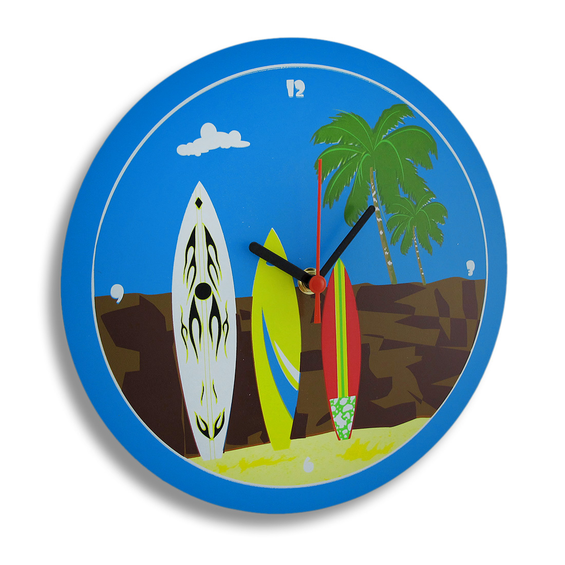 Fun Time Surfboards On The Beach Wall Clock