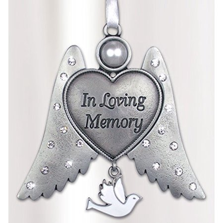Remembrance Angel Wings Ornament - In Loving Memory Engraved on Heart - White Hanging Dove Charm - Memorial -