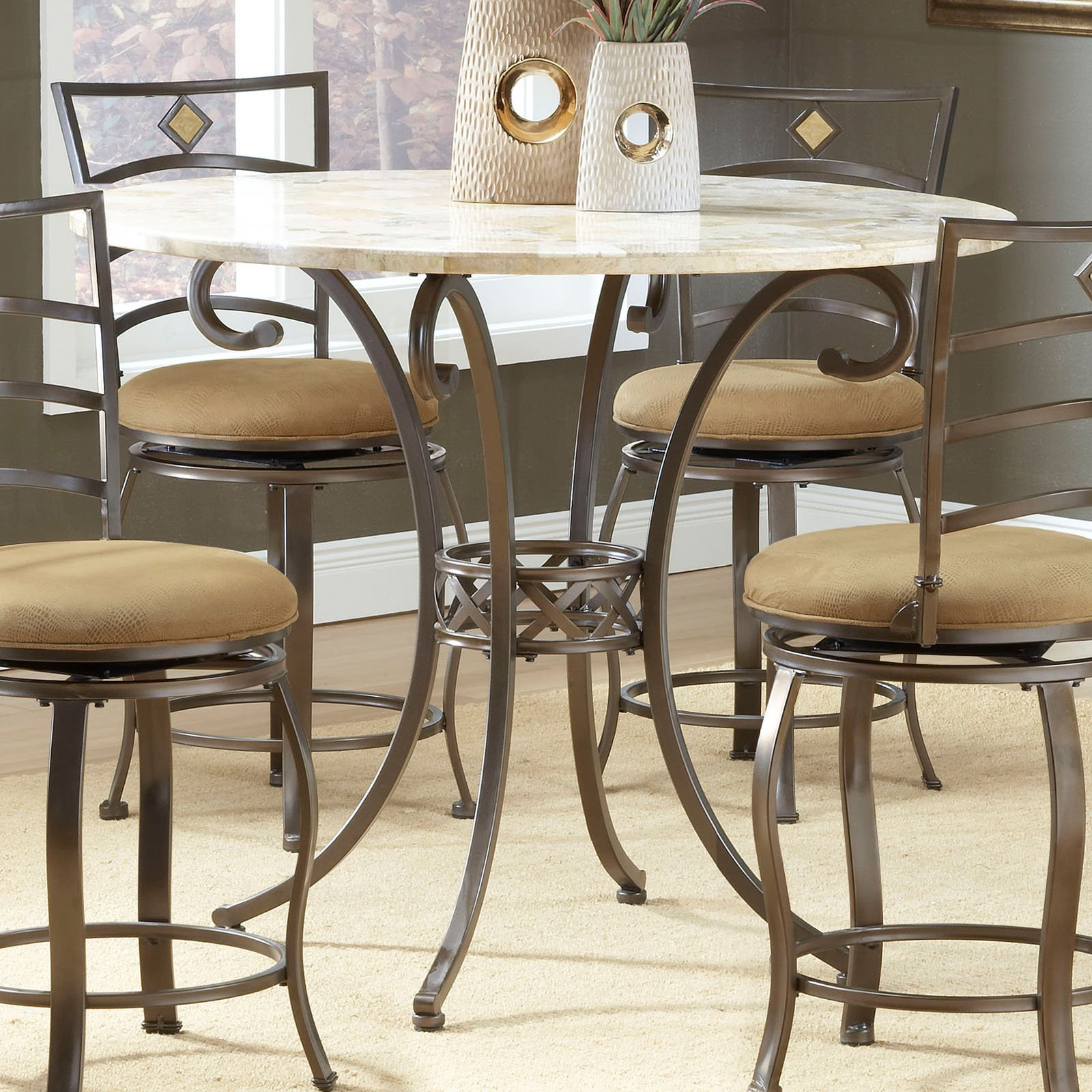 Hilale Brookside 45 Inch Diameter Counter Height Round Dining Table Brown Powder Coat