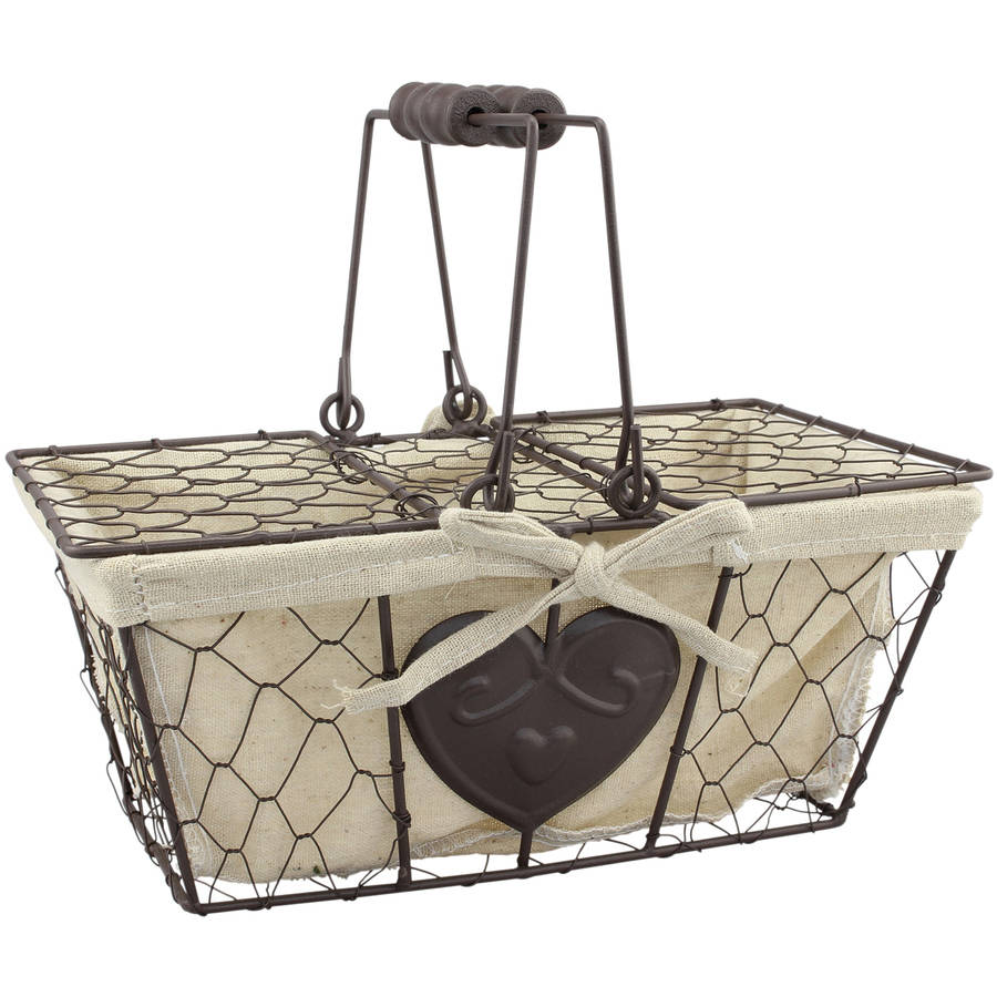 Metal Basket with Heart Shaped Details and Lid with Handles
