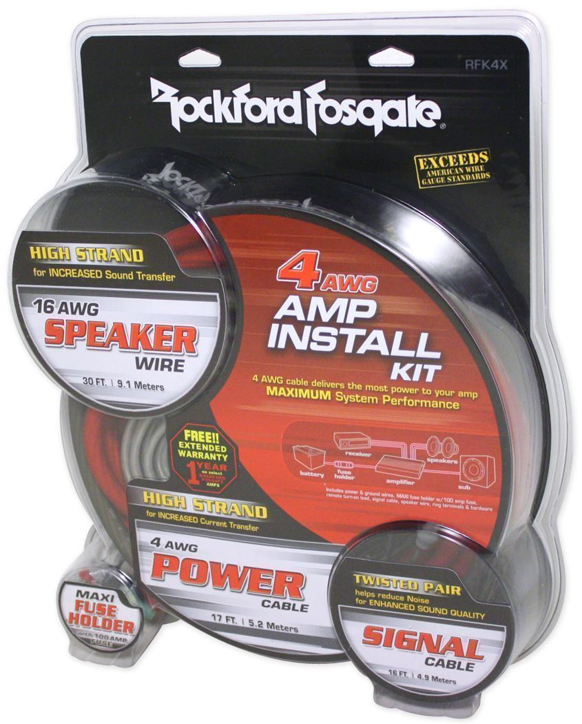 Rockford Fosgate RFK4X 4-gauge Car Stereo Amp Amplifier Wiring Kit ...