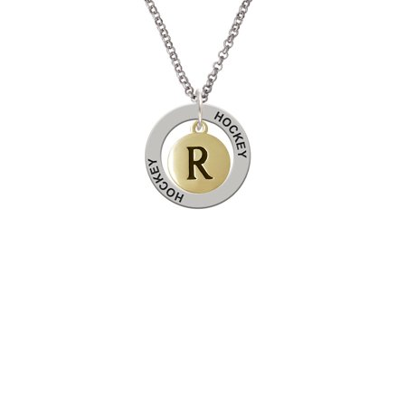 Capital Gold Tone Letter   R   Pebble Disc   Lucky Dog Affirmation Ring Necklace